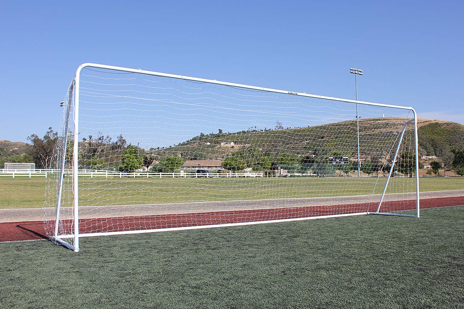 "24x8 Soccer Goal, Official Regulation Round Corner Face, 3mm White Net, Portable, 2"" Galvanized Steel Post, 8'x24'x1'x4½' Quality Practice Training Goalie (1 Yr Frame Warranty)"