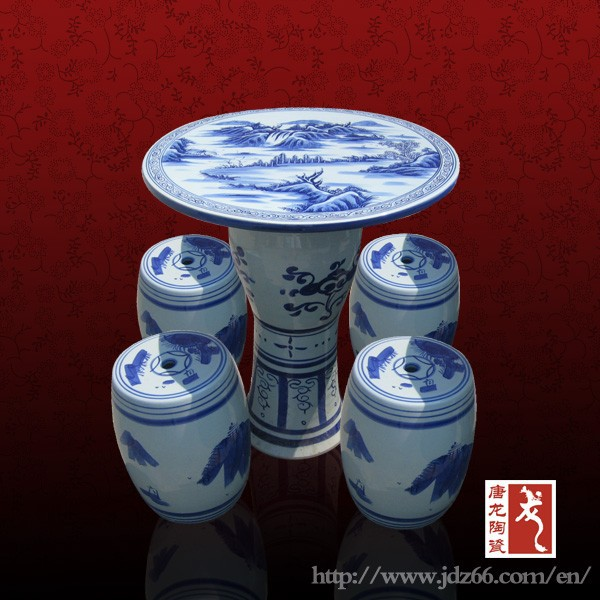 Antique small size Chinese blue and white porcelain table