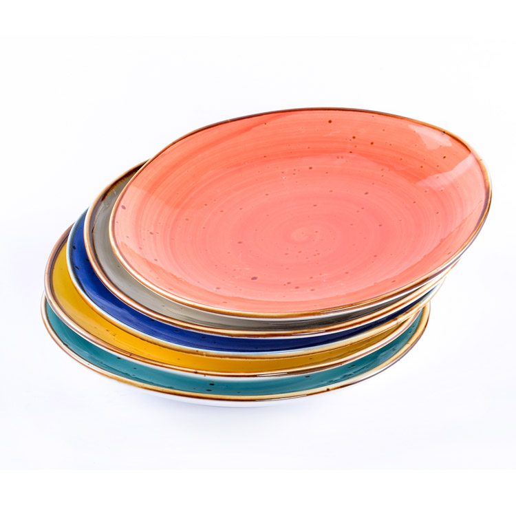 Wholesale cheap ceramic dinnerware plates dishes colorful nordic design restaurant ceramic dinner plate