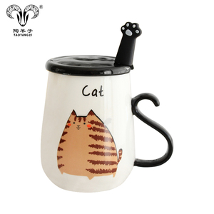 Chinese Supplier Cat Cute Ceramic Cup Creative Milk Mug with Lid and Spoon