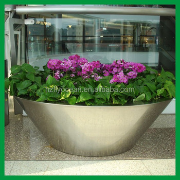 Fo 9013 Large Bowl Round Metal Stainless Steel Flower Pot