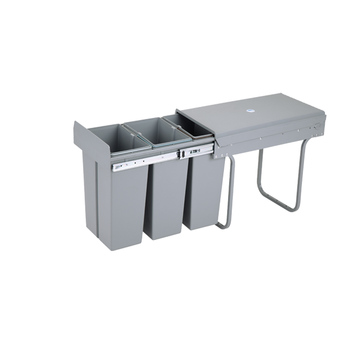 10LX3 Recycling trash can grey plastic dustbin metal frame kitchen recyling bin