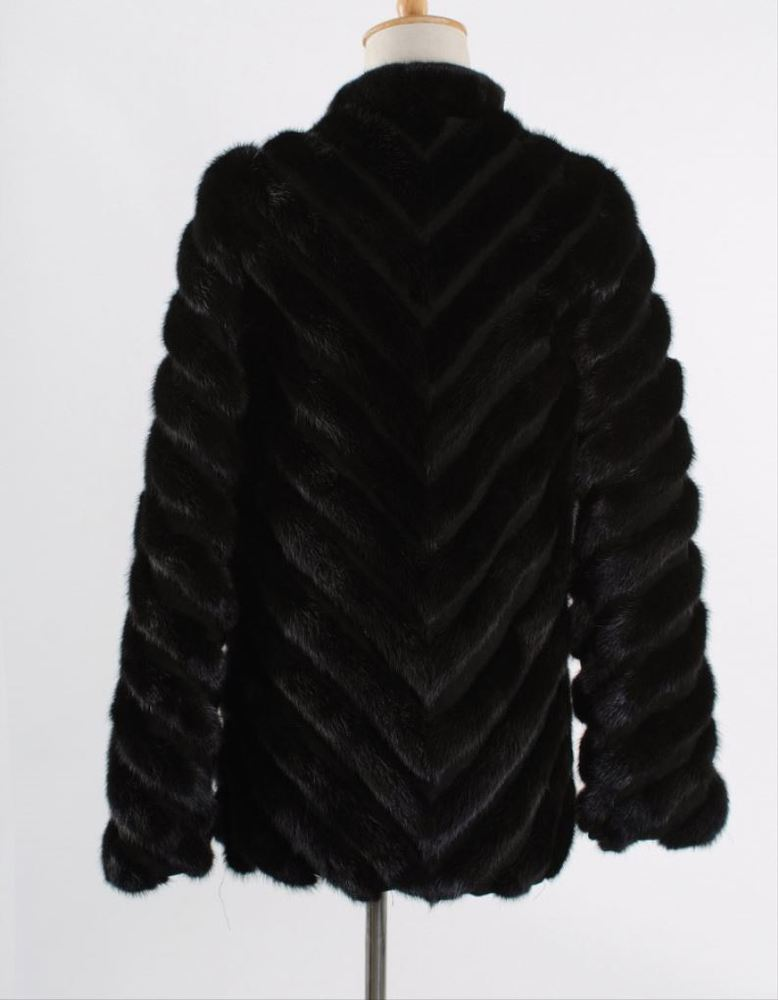 russian hot sale luxury 70cm V striped pattern women jacket stand collar 75cm long sleeves zippered black real mink fur coat