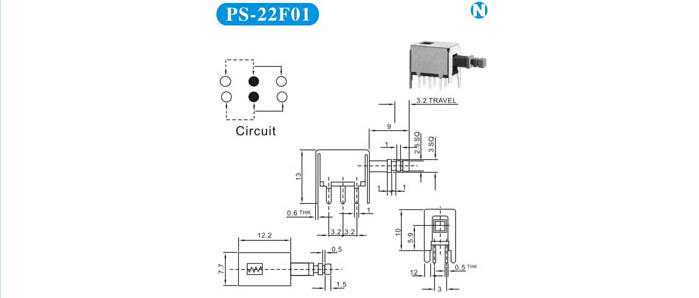 6 pin locked push button switch ps-22f01