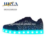 2017 New Style Children Adult Sizes LED Light Up Shoes Knit Top Sports LED Shoes