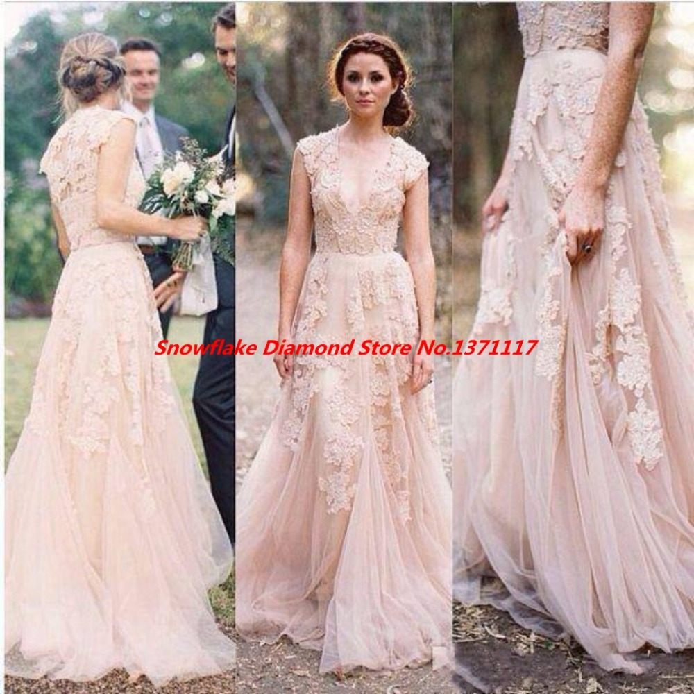 Vintage Lace Cap Sleeves Tulle Princess Wedding Dresses: Deep V Cap Sleeves Pink Lace Applique Tulle Sheer Wedding