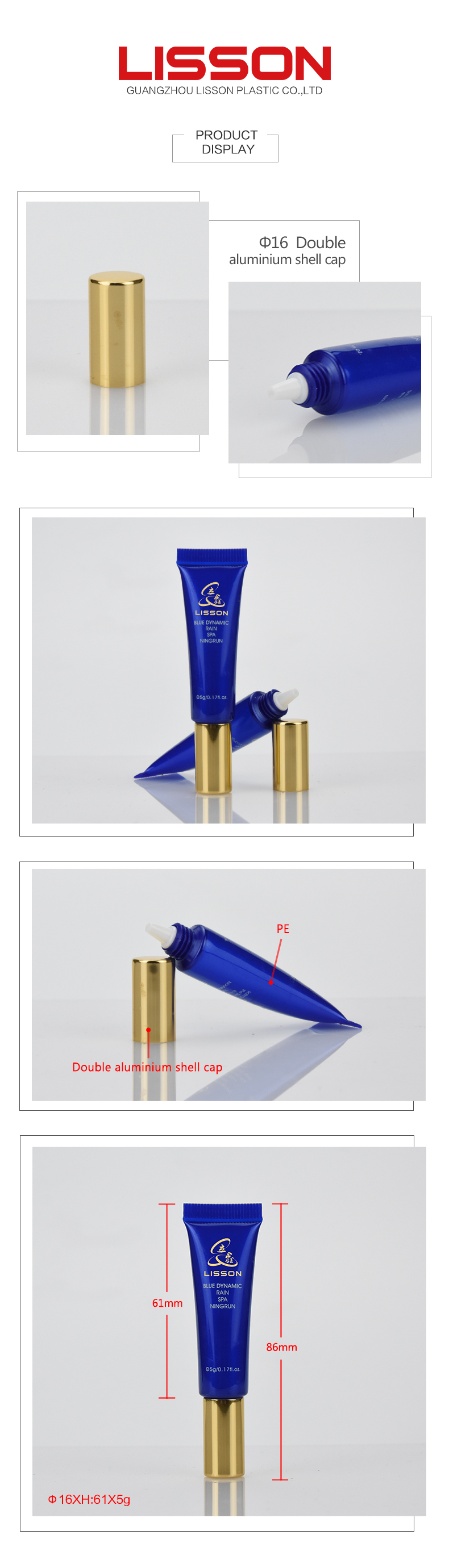 UV printing PE blue colour cosmetic eye cream needle tubes with golden cap