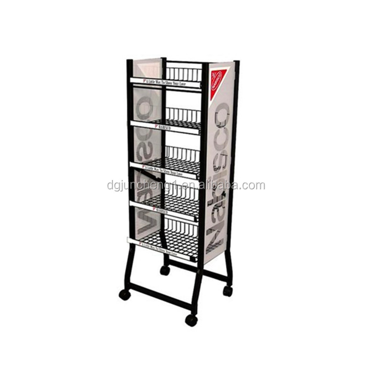 JC17516 multifunctional rolling metal wire display rack