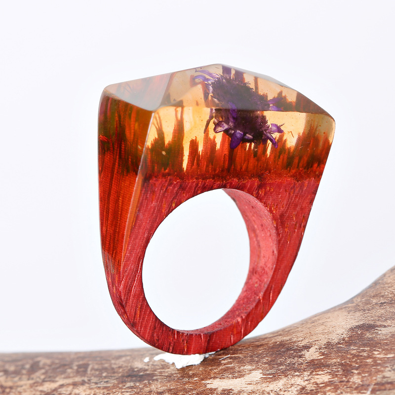 2017 new purple flower resin ring wooden hot sale cool wood gifts new design wood handmade ring jewelry