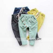 Free shipping new  Hot sale 2015 Autumn girl and boy pants kids harem pants oblique buckle harem pants boys girls harem pants