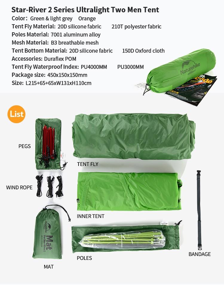 Naturehike Star River 2 Person 20D Nylon 210T Aluminum Pole Ultralight Tents Double Layer