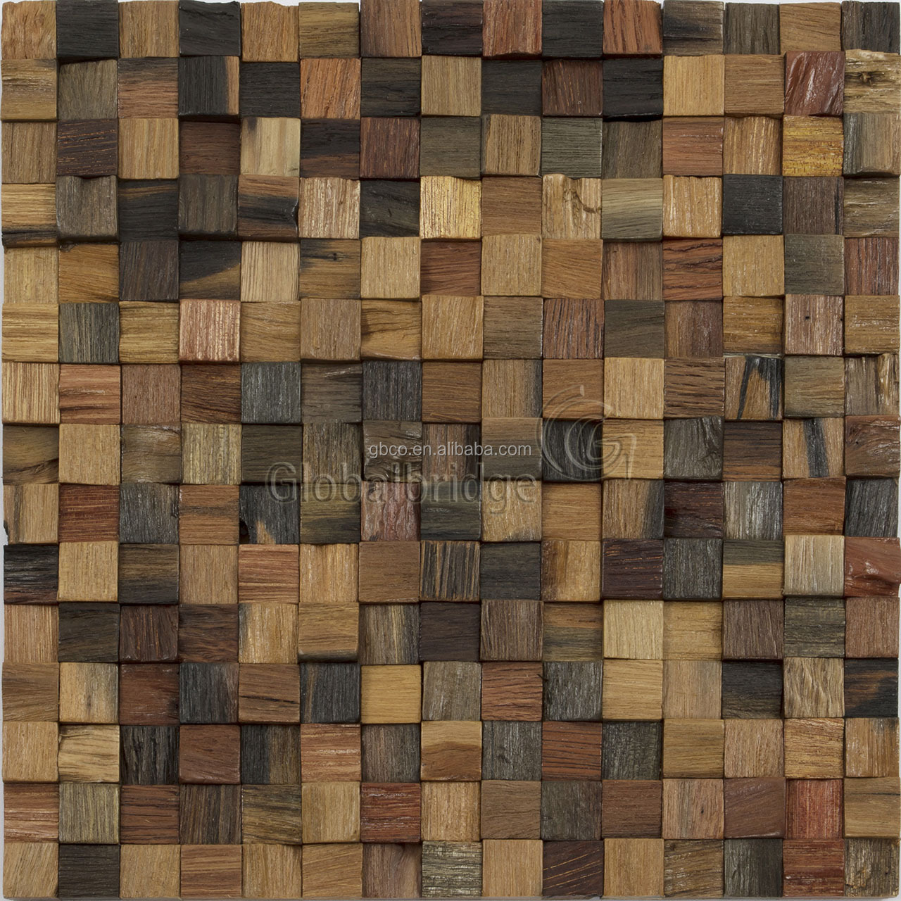 Newly tan square teak wood mosaic wall art rock mosaic art