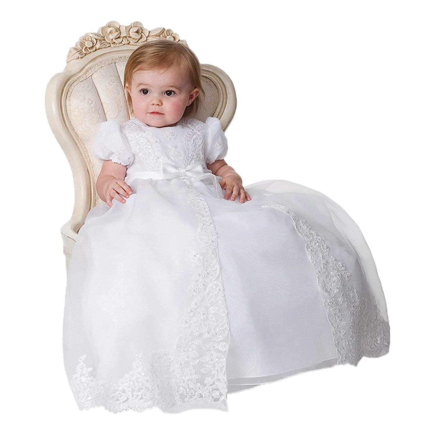 Portsvy Lovely White Lace Girls Long Christening Baptism Gowns Dresses with Bonnet