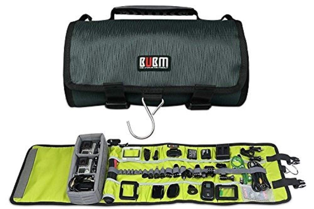 BUBM Large Canvas Travel Roll Bag Camera Rollup Protective Case for GoPro Hero4/3+/3 sj4000, Camera Accessories Rollup Shoulder Bag for GoPro Cameras and Accessories (Dark)