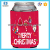 Christmas fashionable beverage neoprene tube can cooler sleeves with santa claus design