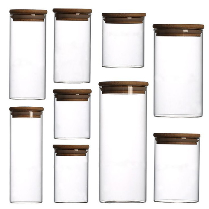 Different volumes glass storage jars with cork and bamboo lid