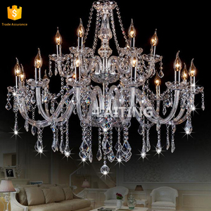Indian Lobby Crystal Chandelier 18 lights glass pendant light with candles