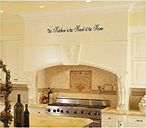 """Kitchen Quote Removable Vinyl Wall Decal - The Kitchen Is the Heart of the Home - 36"""" X 5"""" Black By Katazoom Wall Decals"""