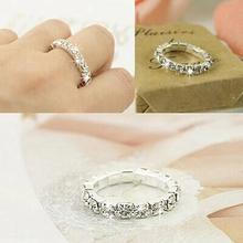 Free Shipping 2015 Korean Simple Row Bright Silver Plated Elastic Imitation Diamond Rings Wholesale