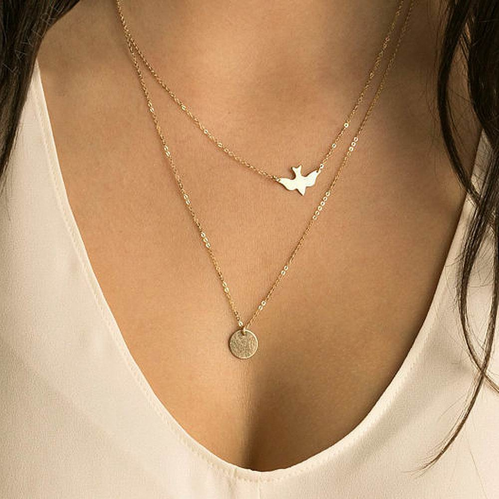 Wholesale Round Coin Pendant Necklace Women Gold Plated Chain Multilayer pigeon Bird Necklaces & Pendants Boho Jewelry