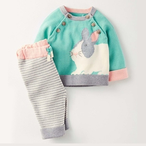 2018 spring little baby sweater sets knitted cotton children's cartoon sweater sets