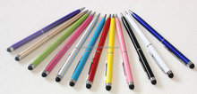 hot selling promotional product silicone tip stylus touch pen, 2 in 1 touch screen pen