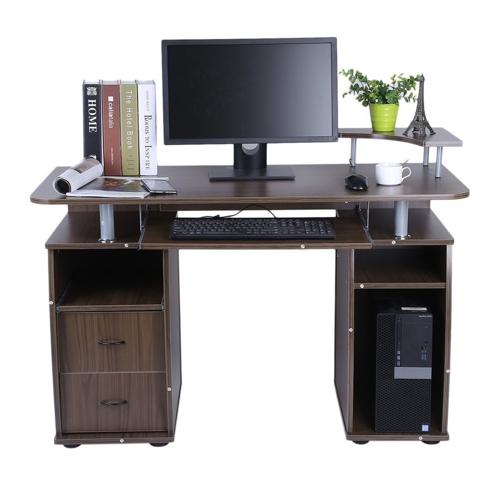 Coldcedar Contemporary Home Office Espresso Computer Desk Table with Elevated Printer Shelf, Pull-Out Keyboard Tray and 2 Drawers (Coffee,MDF)