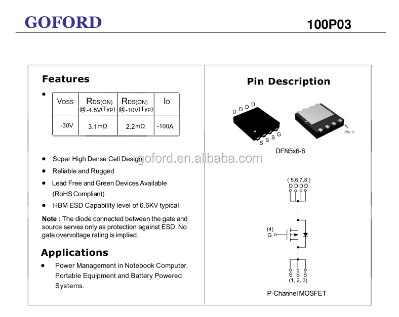 Power Mosfet 100p03 -30v -100a Dfn5x6-8 P Channel Power Mosfet - Buy Power  Mosfet,30v -100a Dfn5x6-8 P Channel,Power Mosfet Power Amplifier Product on