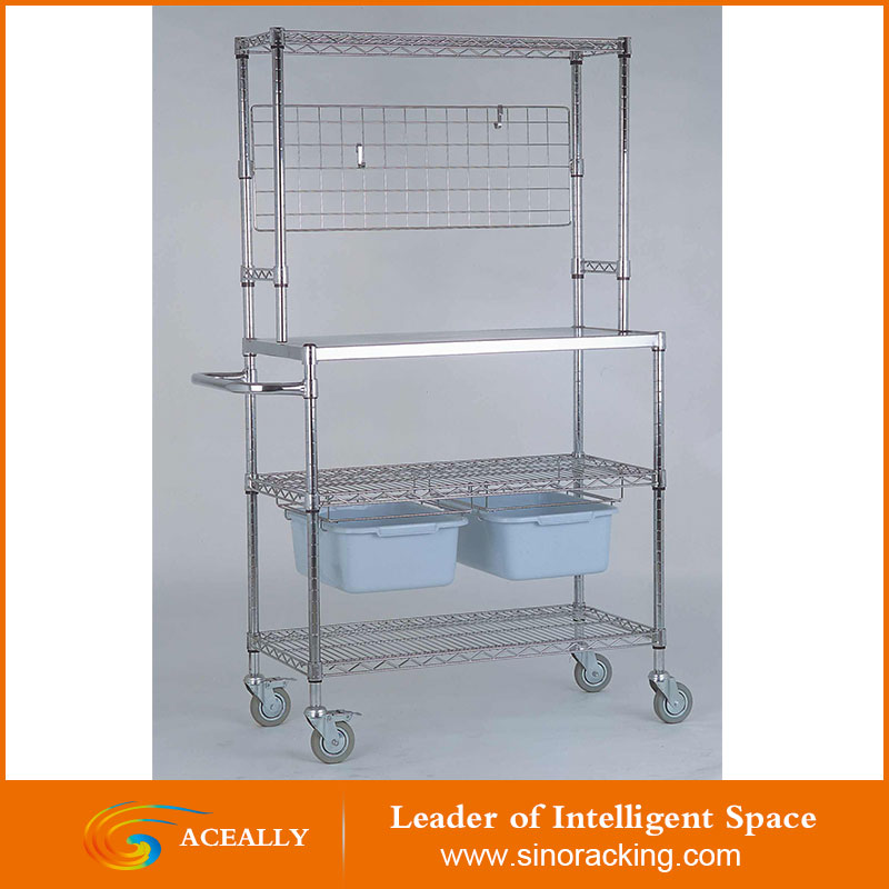 Heavy Duty 3 Tiers Display Home Storage Chrome Steel Wire Rack Wire Shelving