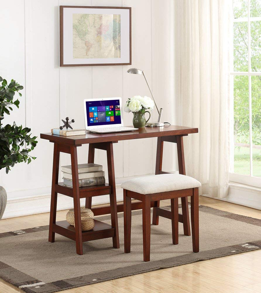 Benzara BM167194 Wooden Writing Desk with Side Shelves and Stool, Brown