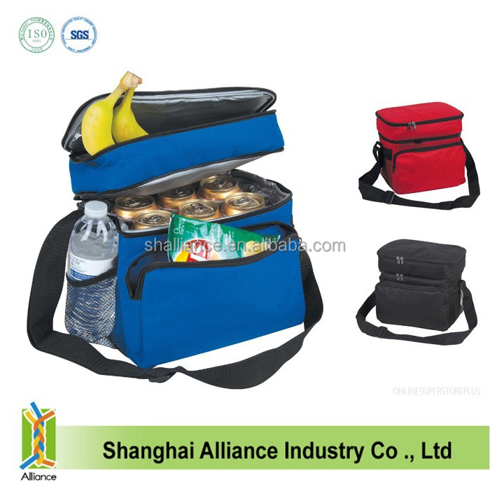 "10"" Small Cooler & Lunch Bag, Double compartment Insulated Cooler Bags with long handle"
