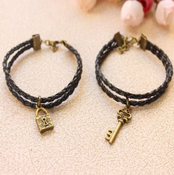 couple leather key and lock charm bracelet woven double leather bracelet jewelry