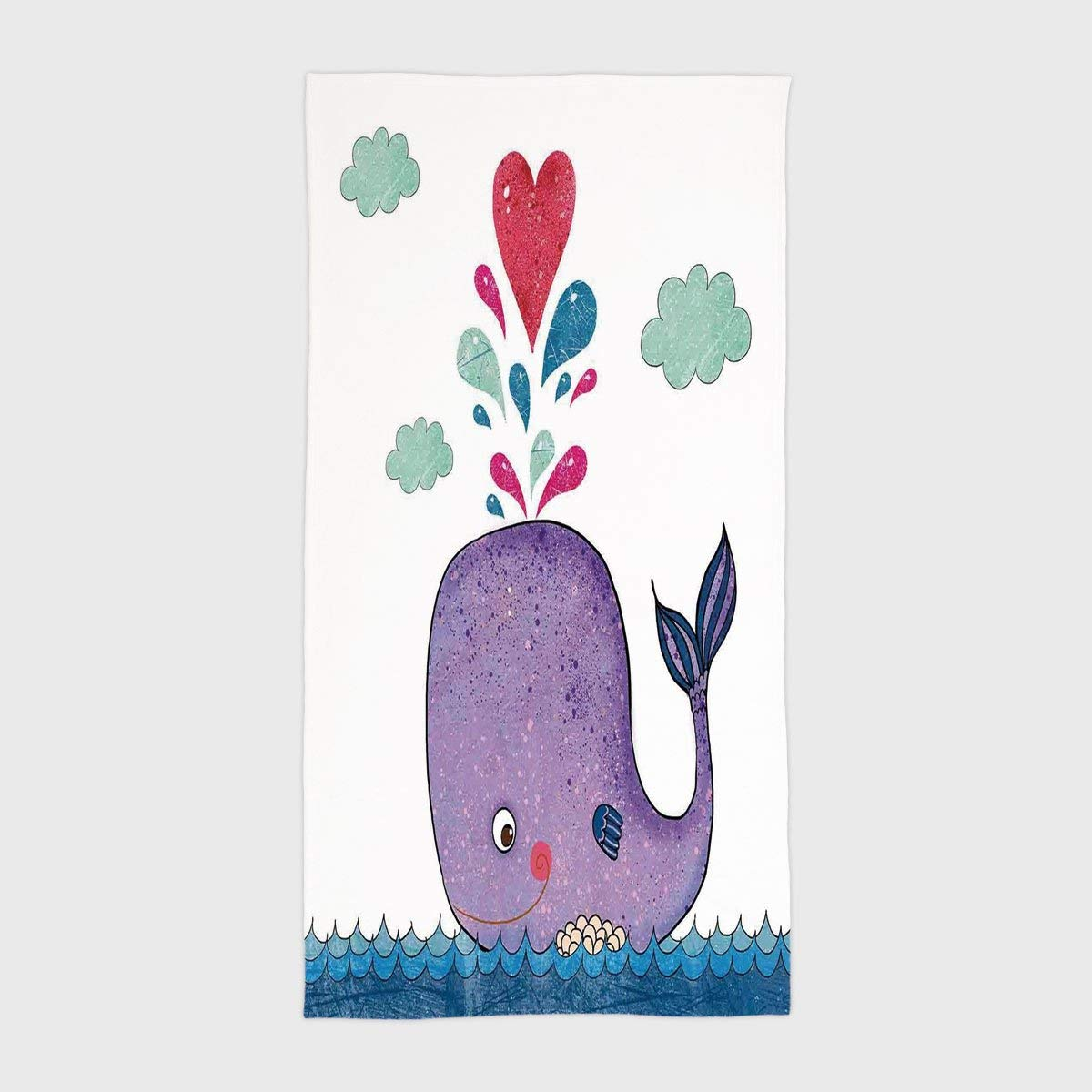 One Side Printing Hotel SPA Beach Pool Bath Hand Towel,Whale Decor Cute Smiley Whale with Lovely Hearts and Clouds on Sea Great for Kids Blue Purple and Red,for Kids Teens and Adults