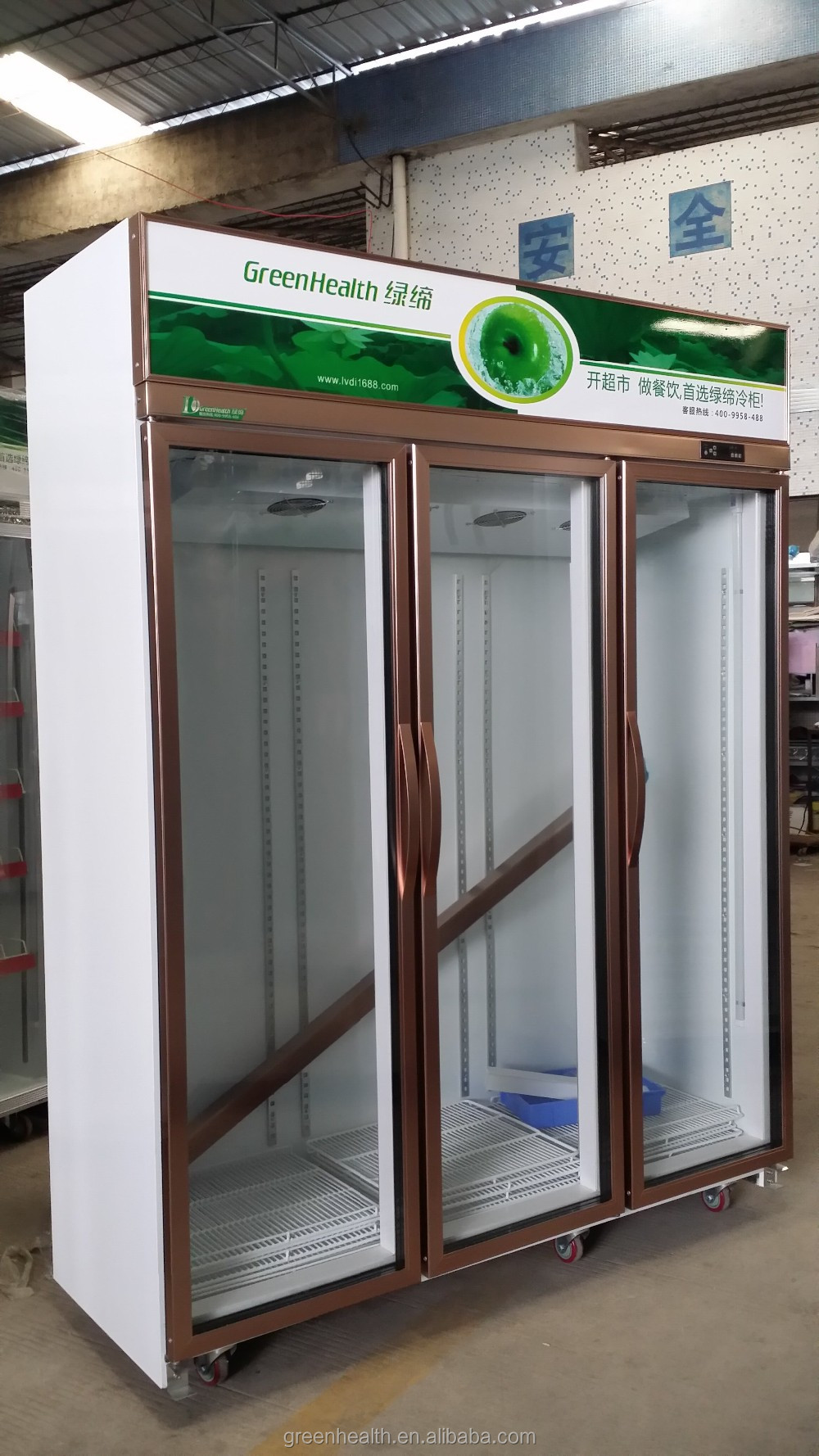 Green health commercial refrigerator for supermarket used for 1 door display chiller