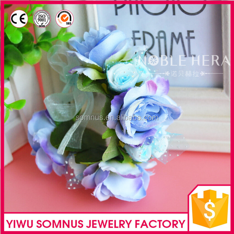 55H Stock/Custom Fashion Fabric purple/beige rose flower wristband,bridal wedding arm bracelet