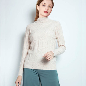 Women White Town Down Collar Cashmere Sweater