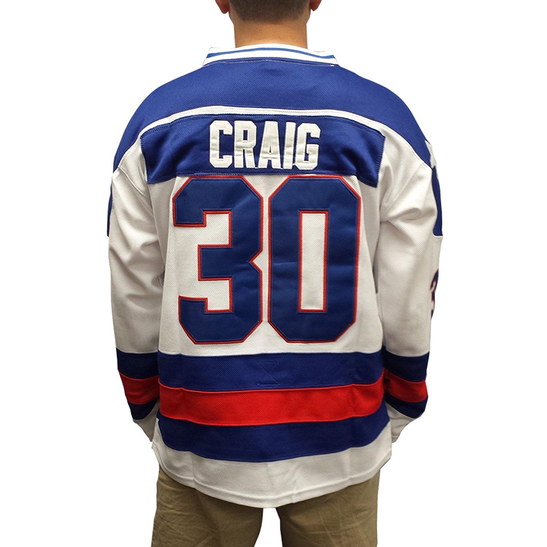 219b61717d3 Get Quotations · Jim Craig #30 Team USA White Hockey Jersey Miracle On Ice  Goalie Goaltender