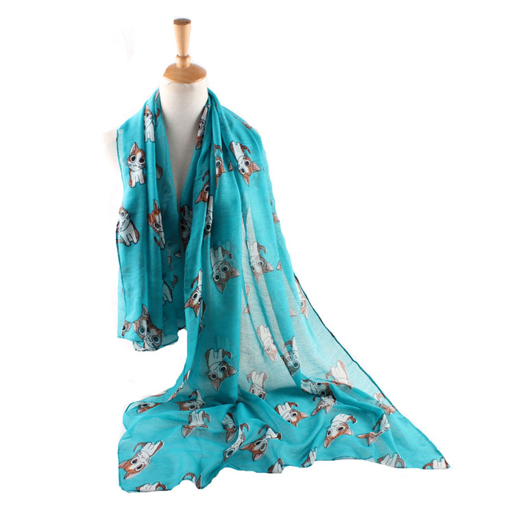2017 New Hot Selling Cat Printed Shawl Fashion Voile Scarf