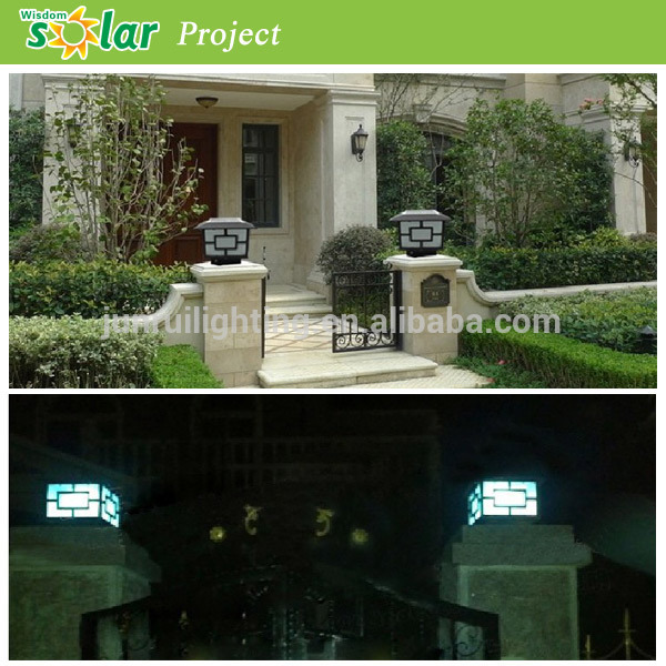 High quality LED Antique luxurious solar outdoor pillar lamp