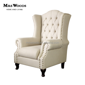 Living Room French Fabric Upholstered Tufted Wingback Chair With Nailhead  Trim