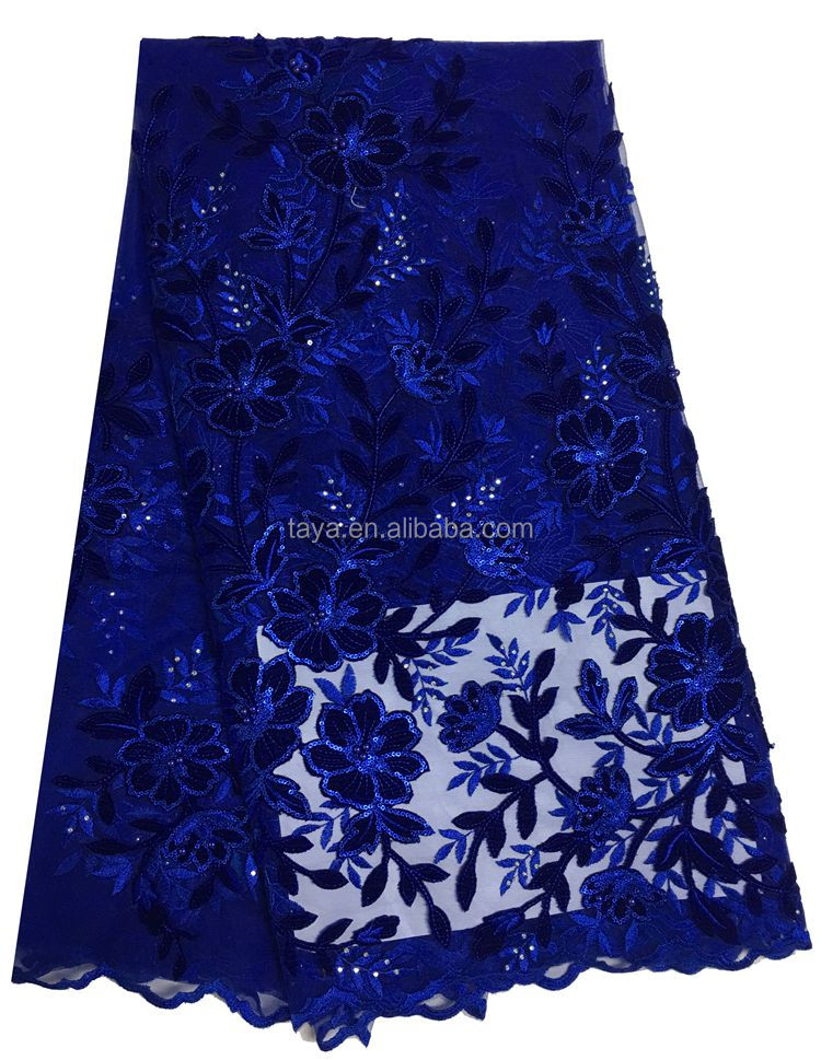 2017 lace fabrics 5 yards nigerian sequined handwork embroidery designs with net dubai fashion fabric