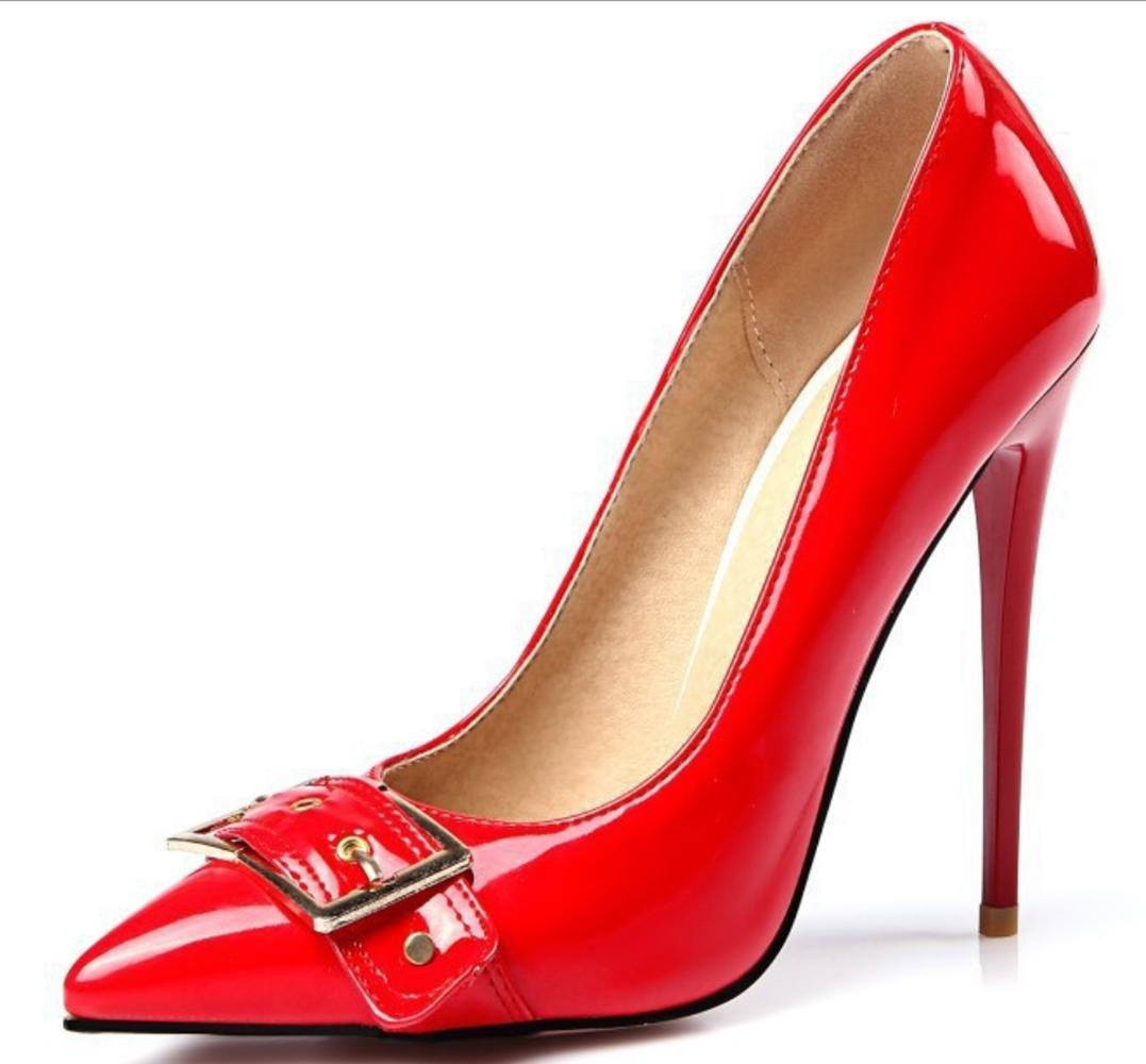 CSDM Women Stiletto Heel Wedding Shoes Shallow Mouth Pointed Toe Metal Belt Buckle High-Heeled Large Size Shoes , red , 44 custom 2-4 days do not return