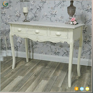 French Home Decor 3 Drawer White Wooden Console Table Antique