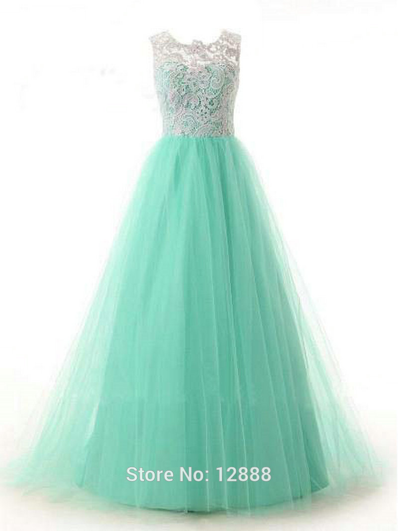 Fancy A-Line Scoop Neckline Mint Tulle and White Lace Sleeveless Floor-length Tulle Prom Dress Cheap 2015