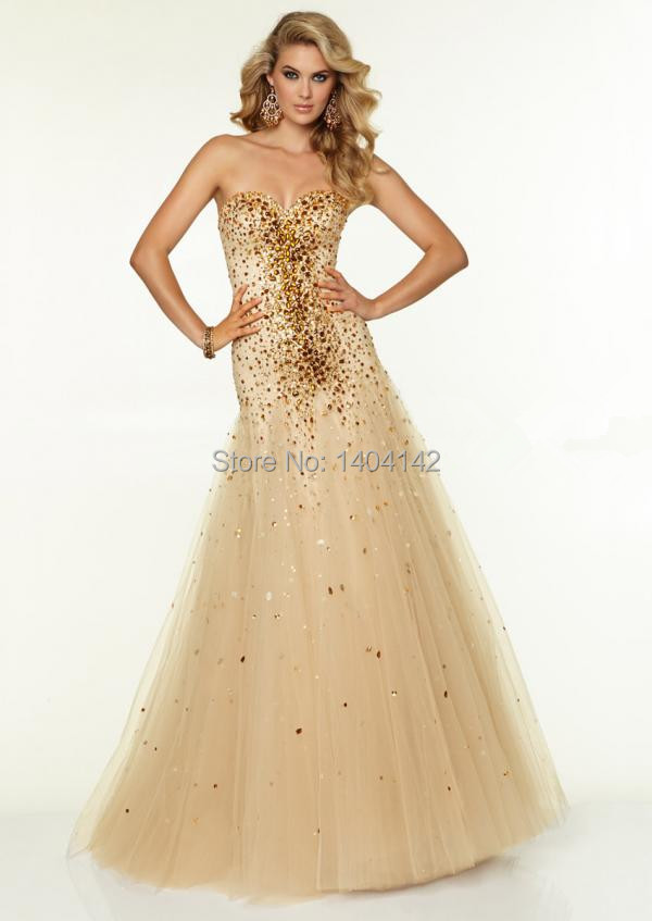 A-line Champagne Tulle Beading Prom Dresses Luxury Sweetheart Gold Crystal Long Formal Party Dresses Vestido De Formatura Longo