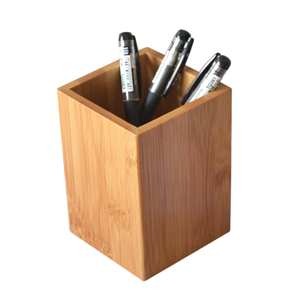 <strong>Bamboo</strong> Wood Desk <strong>Pen</strong> Pencil <strong>Holder</strong> Stand Multi Purpose Use Pencil Cup Pot Desk Organizer