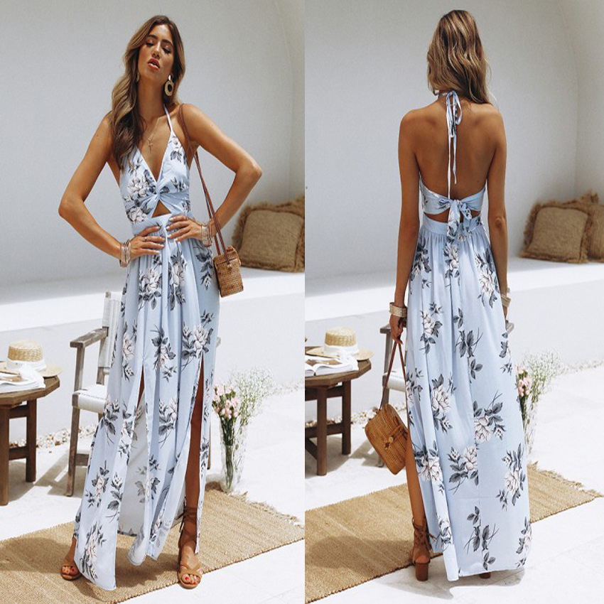 Ecoparty Autumn Women Fashion Maxi Irregular Boho Dress Summer Floral Print V-Neck Hem Dresses