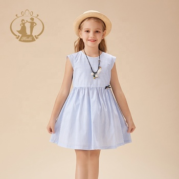 Latst fashion wholesale summer casual kids cotton blue stripe printed baby girls cotton frocks designs