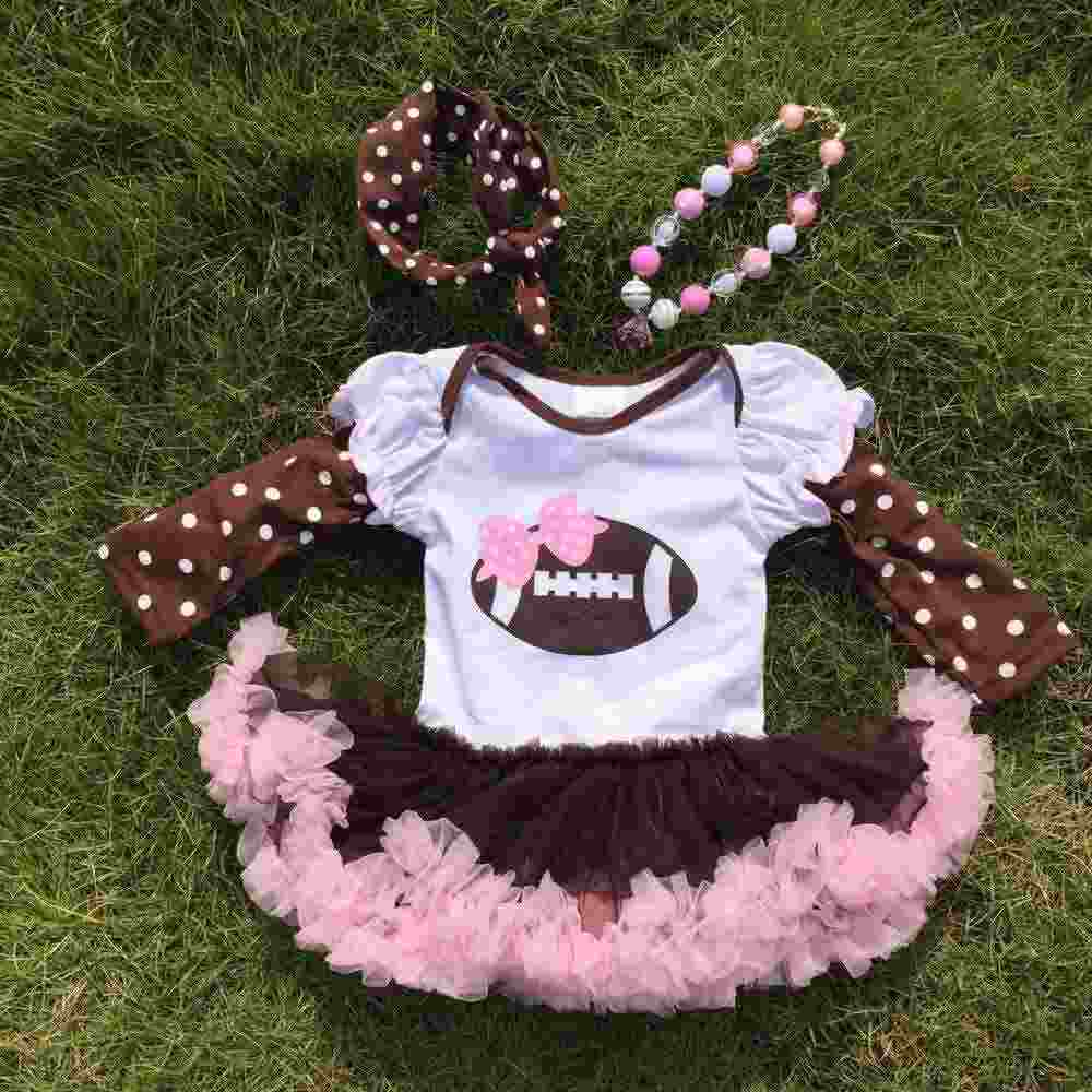 Football dress new design ruffle dress clothes pink veil cute children's kids clothes with matching necklace and headband