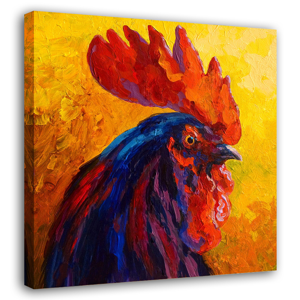Modern Sprayed Canvas Painting Impressionist Wall Art Animal Cocky Rooster Home Decor Living Room Gift Framed